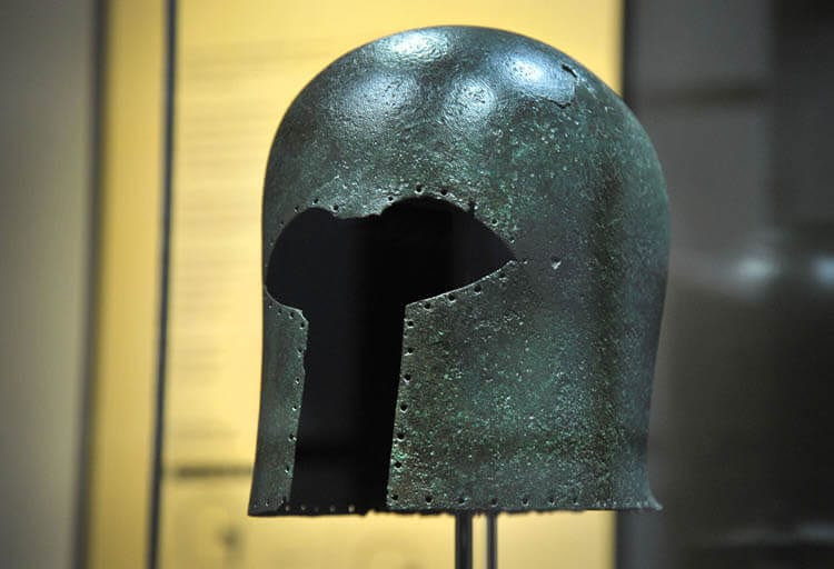 7th-century-BC Greek bronze helmet